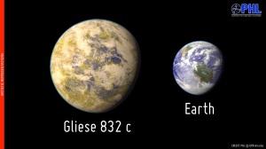Avbildning av den närmaste jordlikannde planeten Gliese-832c.
