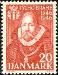 anskt frimärke med Brahe.